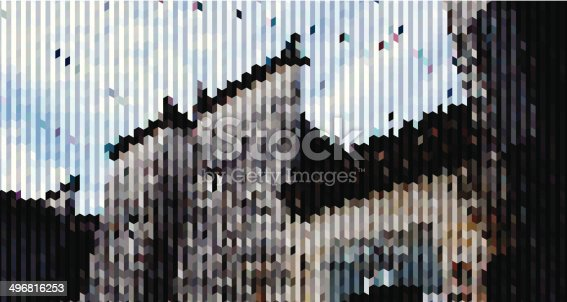 istock abstract stripe style Chinese country building background 496816253