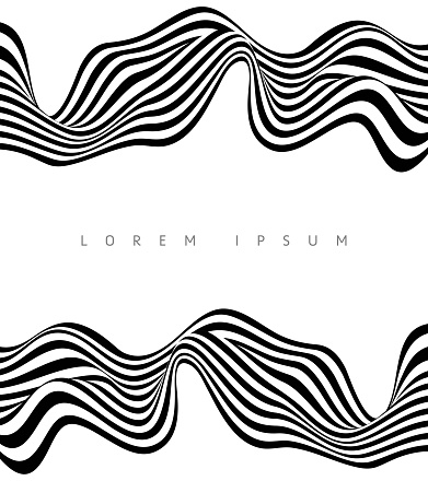 Abstract Stripe Wave Black and White Background Design
