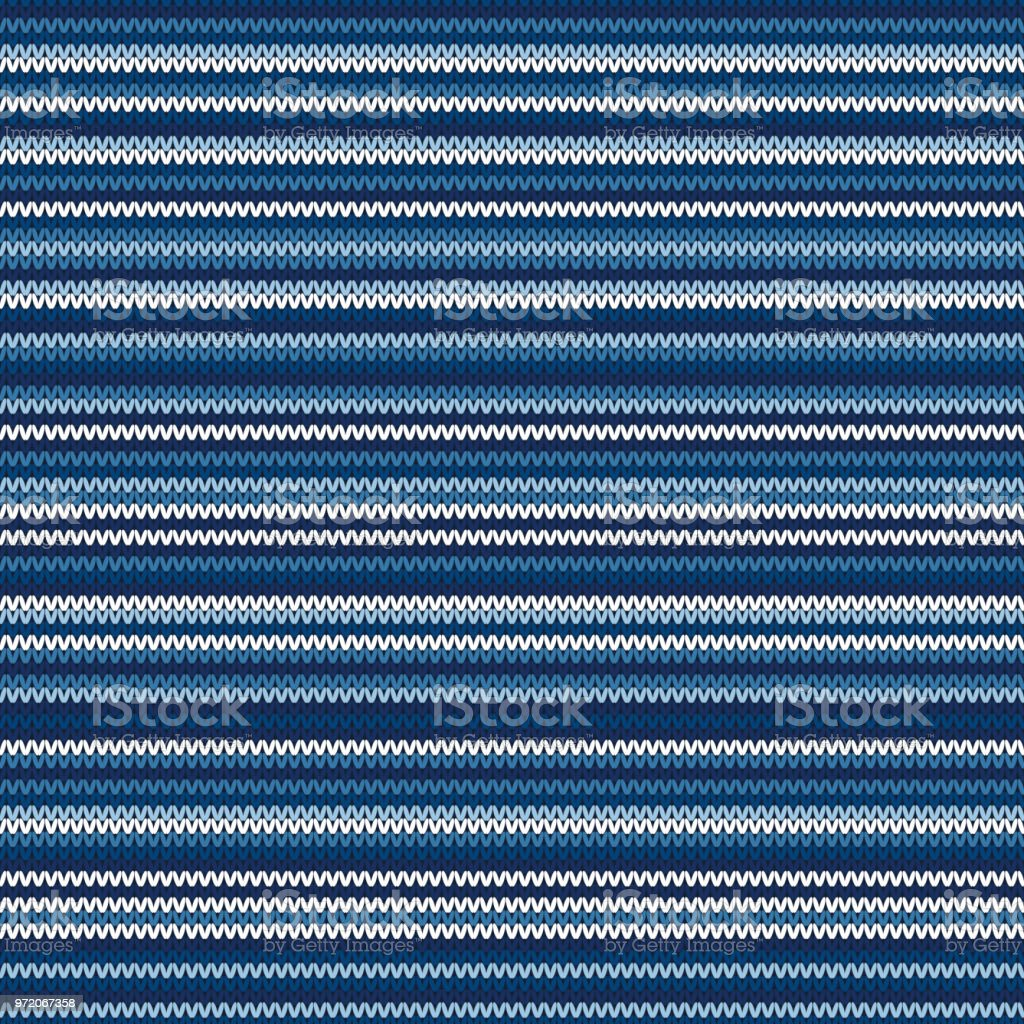 Abstract Striped Knitted Pattern. Vector Seamless Knit Texture with Shades of Blue Colors vector art illustration
