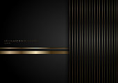 Abstract stripes golden lines on black background with space for your text. Luxury style. You can use for cover brochure template, poster, banner web, flyer, print ad, etc. Vector illustration
