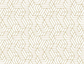 istock Abstract stripes, line vector seamless pattern. Neutral monochrome business background, gold white color. Linear shapes, creative geometric ornament 1265481764