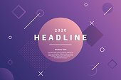 Abstract style purple background with dynamic geometric shapes. Trendy banner with copy space frame. Applicable for presentation, party invitation, brochure. Vector eps 10.