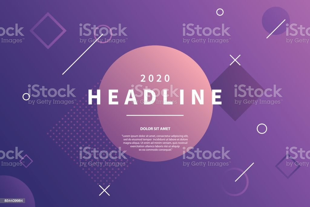 Abstract style purple background with dynamic geometric shapes. Trendy banner with copy space frame. Applicable for presentation, party invitation, brochure. Vector eps 10. vector art illustration