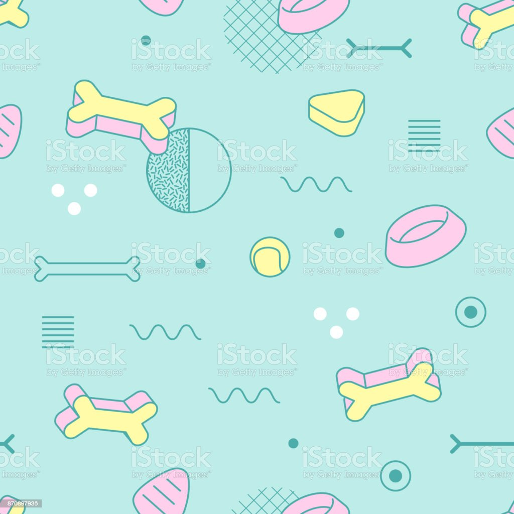 Abstract Style Seamless Pattern with Geometric Shapes and Dog Food. Vintage 80-90s Fashion Trendy Composition for Wallpaper, Poster, Banners, Cover Design. Vector illustration vector art illustration