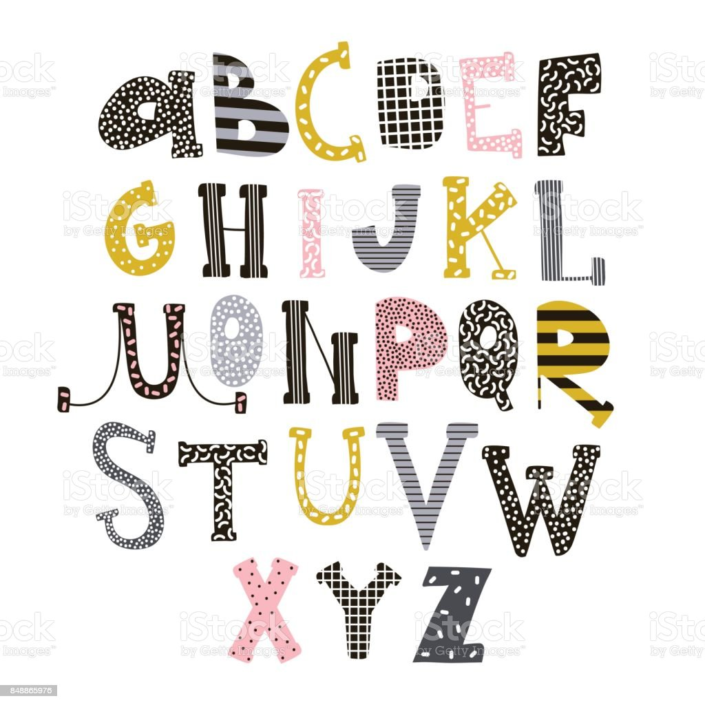 Abstract Stylish Alphabet Creative Kids Font Great For Education Home Decor It