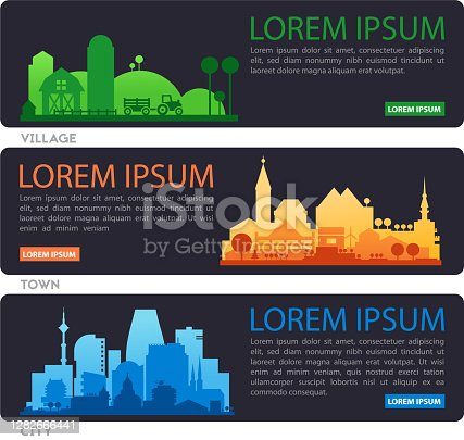 istock Abstract stylish cityscape infographics with various city diistricts 1282666441