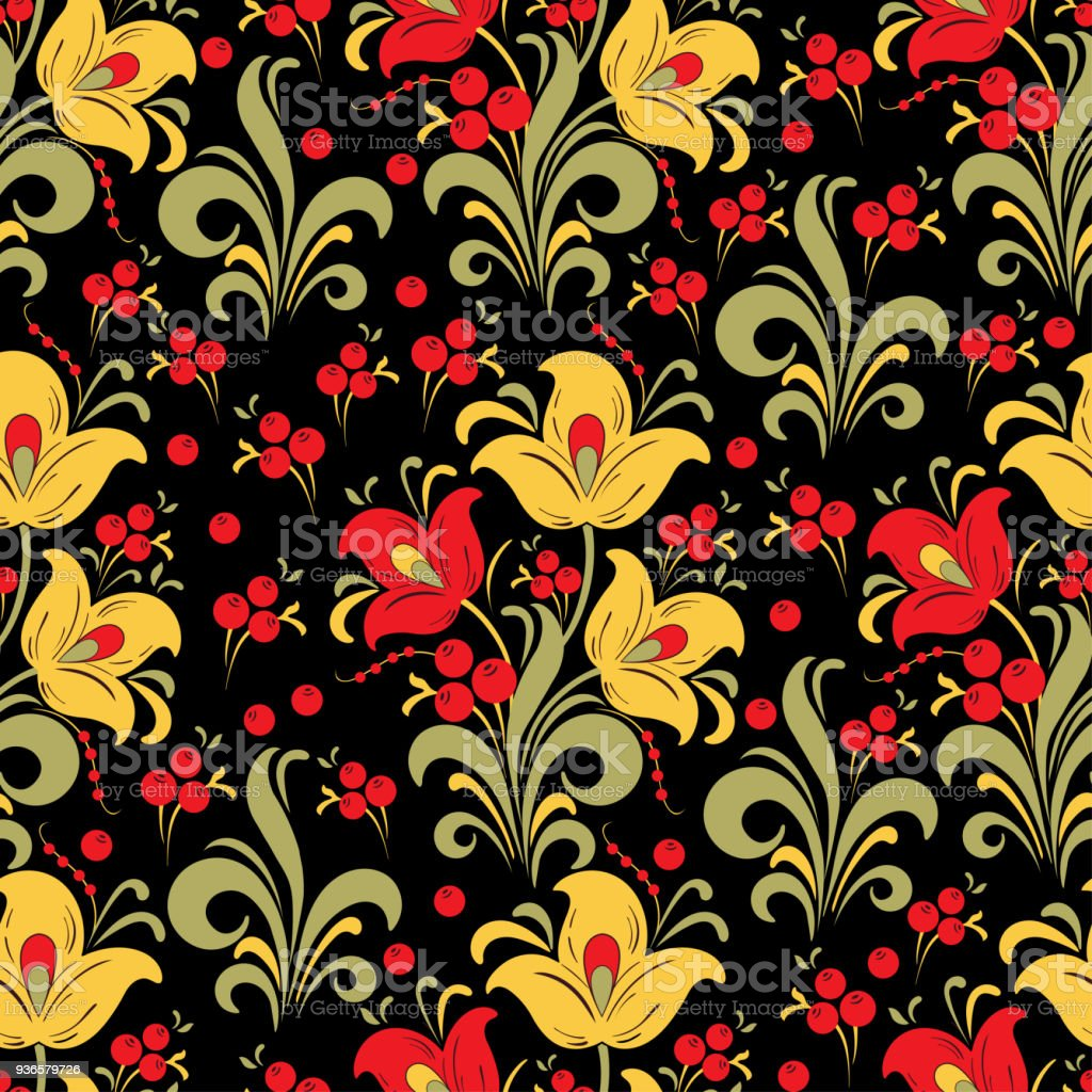 abstract stylized flower seamless pattern vector