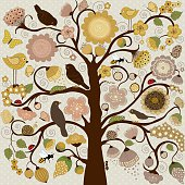 Abstract stylized tree with flowers and insects and birds