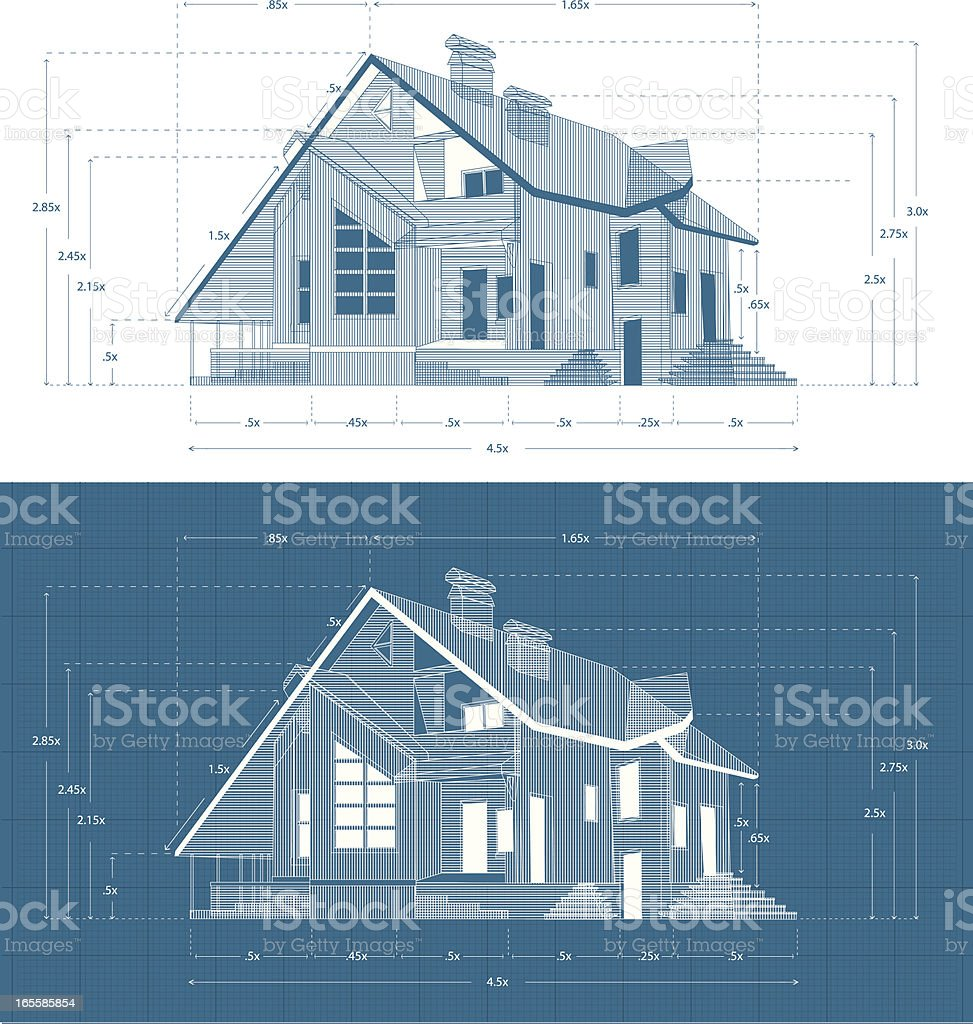 Abstract Suburban House. Two Blueprint Versions royalty-free abstract suburban house two blueprint versions stock vector art & more images of abstract