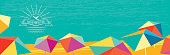 abstract summer banner with polygonal colorful parasols and vintage badge