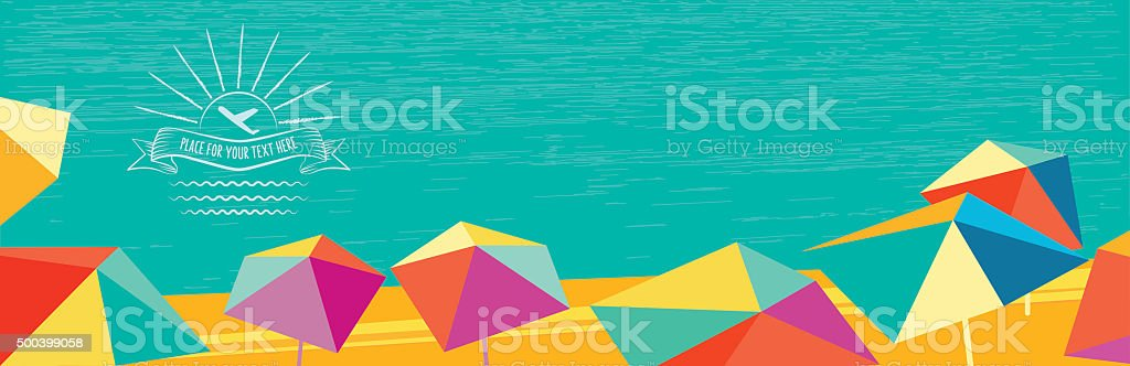 abstract summer banner with polygonal colorful parasols and vintage badge vector art illustration
