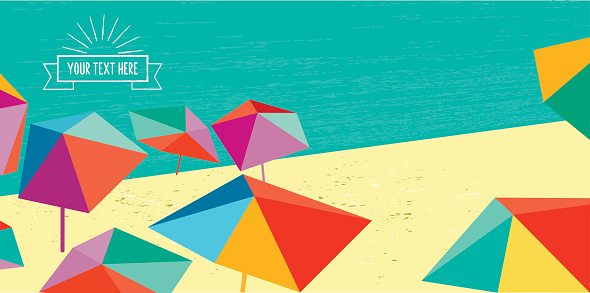 abstract summer beach illustration banner with vintage badge