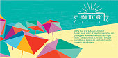 abstract summer beach vector banner with colorful parasols in polygonal look at retro colored and textured background with line art sun symbol and copy space