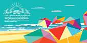 abstract summer beach illustration with group of colorful parasols in polygonal look at yellow summer beach,