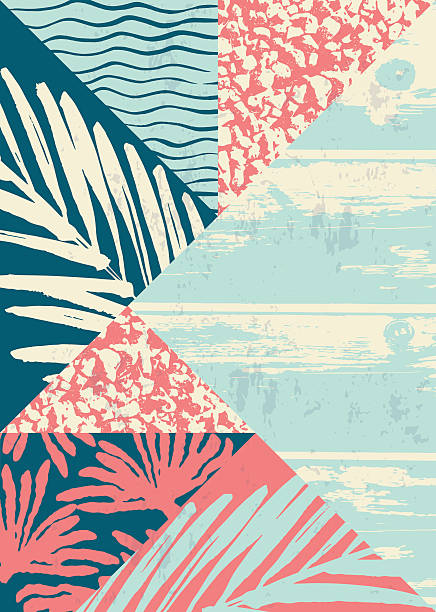Abstract summer composition with hand drawn vintage texture and geometric Abstract summer composition with hand drawn vintage texture and geometric elements. Vector template for poster, cover, card design and other users. beach patterns stock illustrations