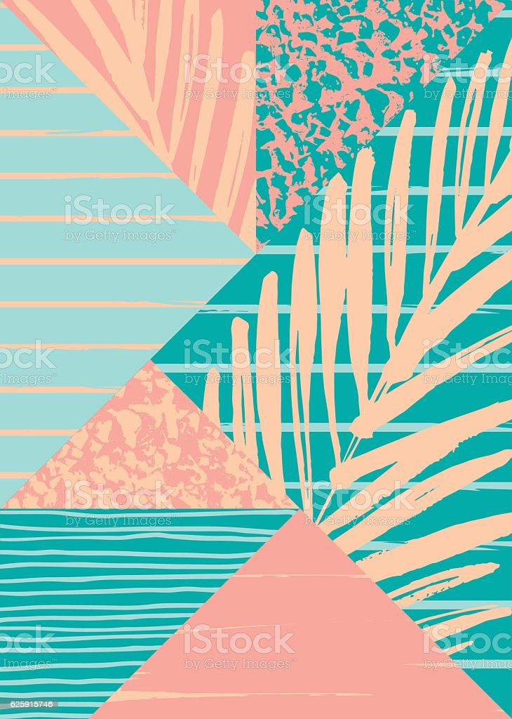 Abstract summer composition with hand drawn vintage texture and geometric vector art illustration