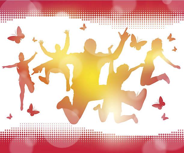 Abstract Summer Jumping Youths vector art illustration