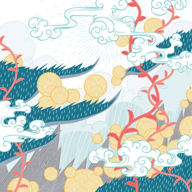 abstrakt sommer natur muster - asien stock-grafiken, -clipart, -cartoons und -symbole