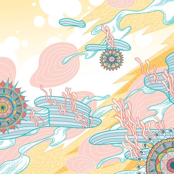 abstrakt sommer natur muster - landscape crazy stock-grafiken, -clipart, -cartoons und -symbole