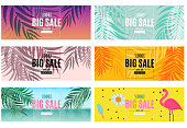 Abstract Summer Sale Background with Palm Leaves and Flamingo Collection Set. Vector Illustration EPS10