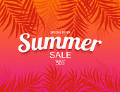 Abstract Summer Sale Background with Palm Leaves  Vector Illustration EPS10
