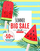 Abstract Summer Sale Background with Watermelon Ice Cream. End of Season. Vector Illustration EPS10
