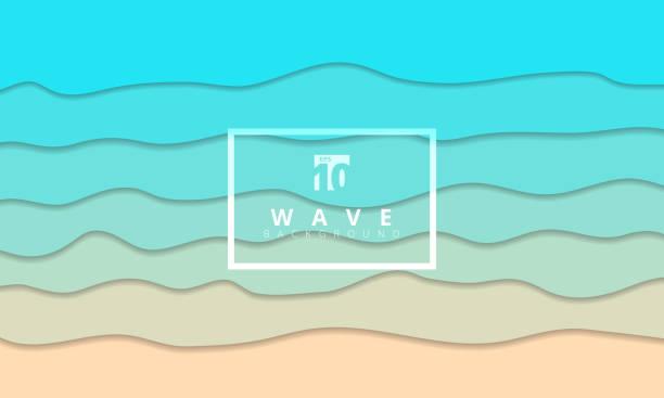 ilustraciones, imágenes clip art, dibujos animados e iconos de stock de resumen de verano azul de la onda costa fondo papel cortado estilo. - arena