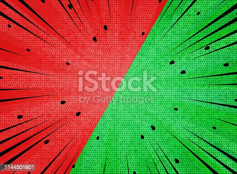 Abstract sun burst  contrast watermelon red and green colors background. You can use for hot sales promotion, versus, fight ad, poster, cover design. illustration vector eps10