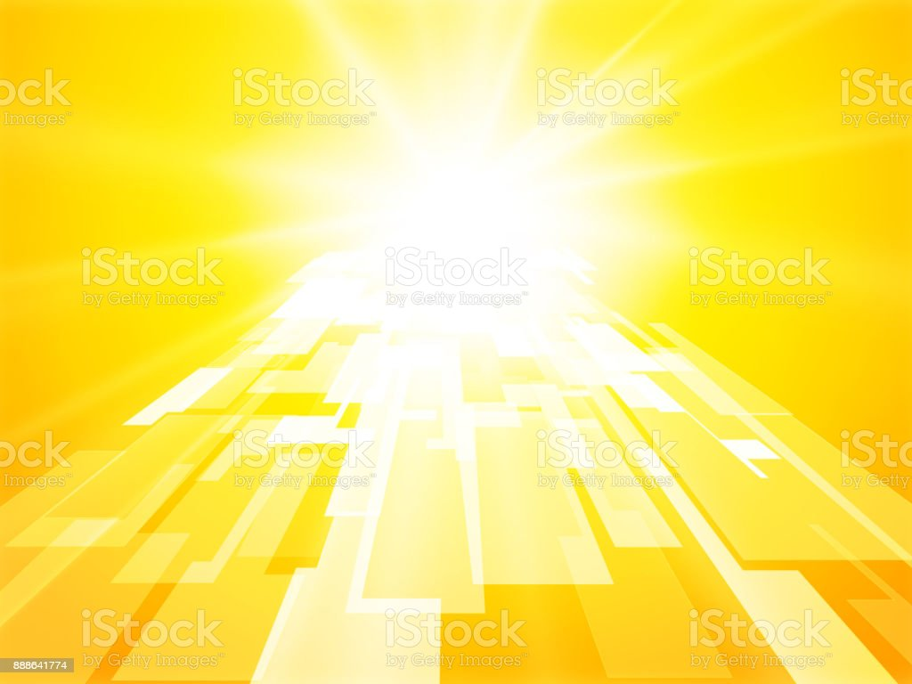 abstract sun gate yellow perspective geometric background vector art illustration