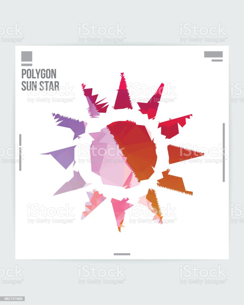 Abstract Sun Star Graphic Design Poster Layout Template - arte vettoriale royalty-free di A forma di stella