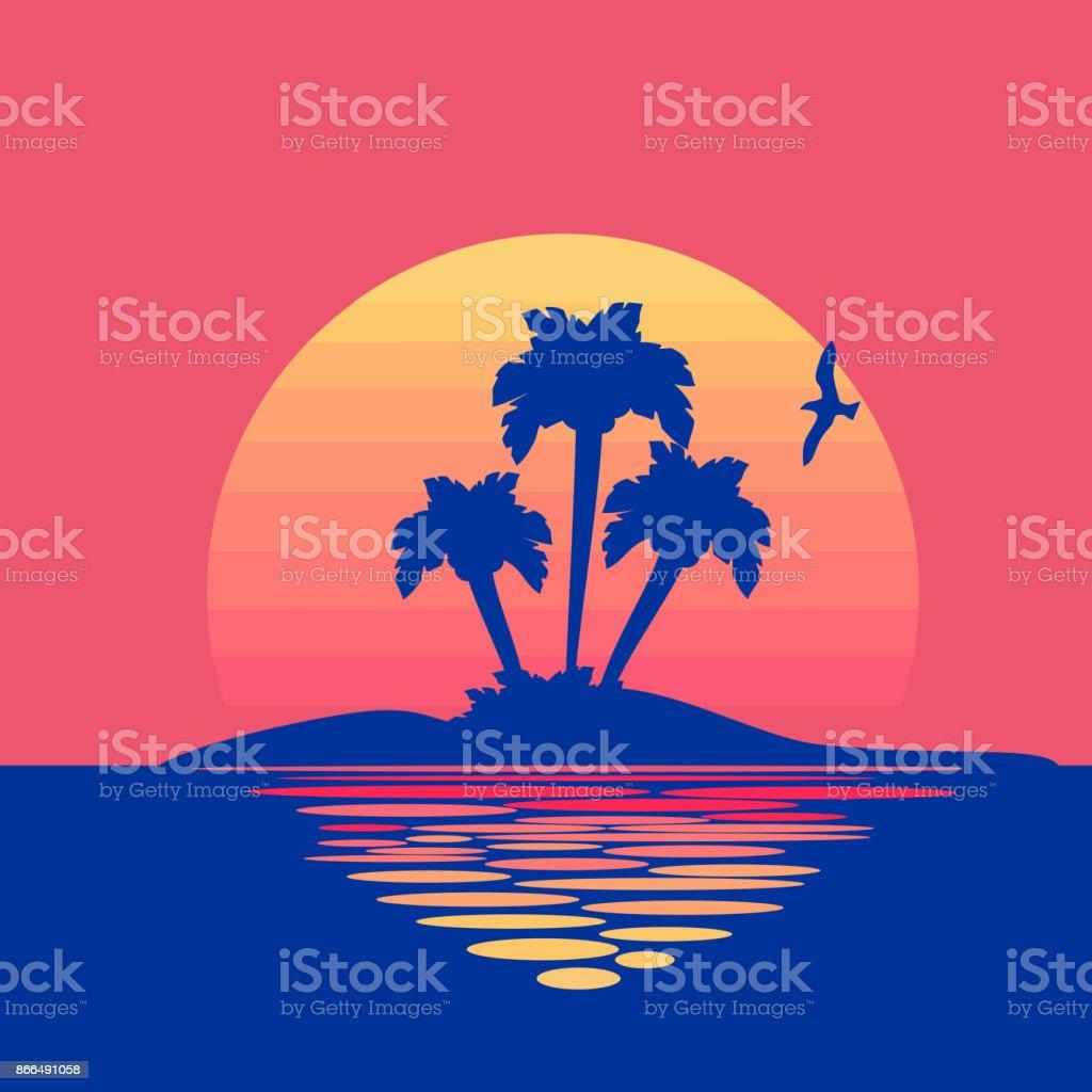 Abstract sunset background vector art illustration