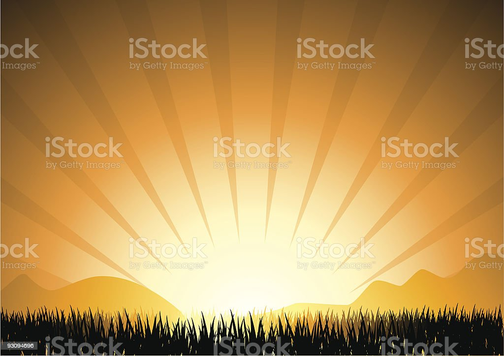 abstract sunset in mountain with grass silhouette, vector illustration royalty-free abstract sunset in mountain with grass silhouette vector illustration stock vector art & more images of abstract