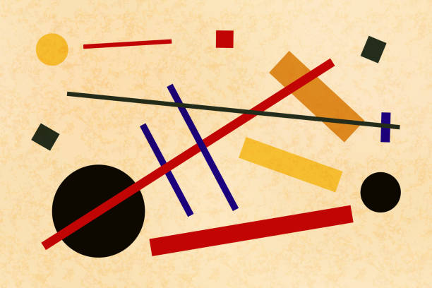 abstract suprematism composition, horizontal flat illustration on old canvas - modern art stock illustrations