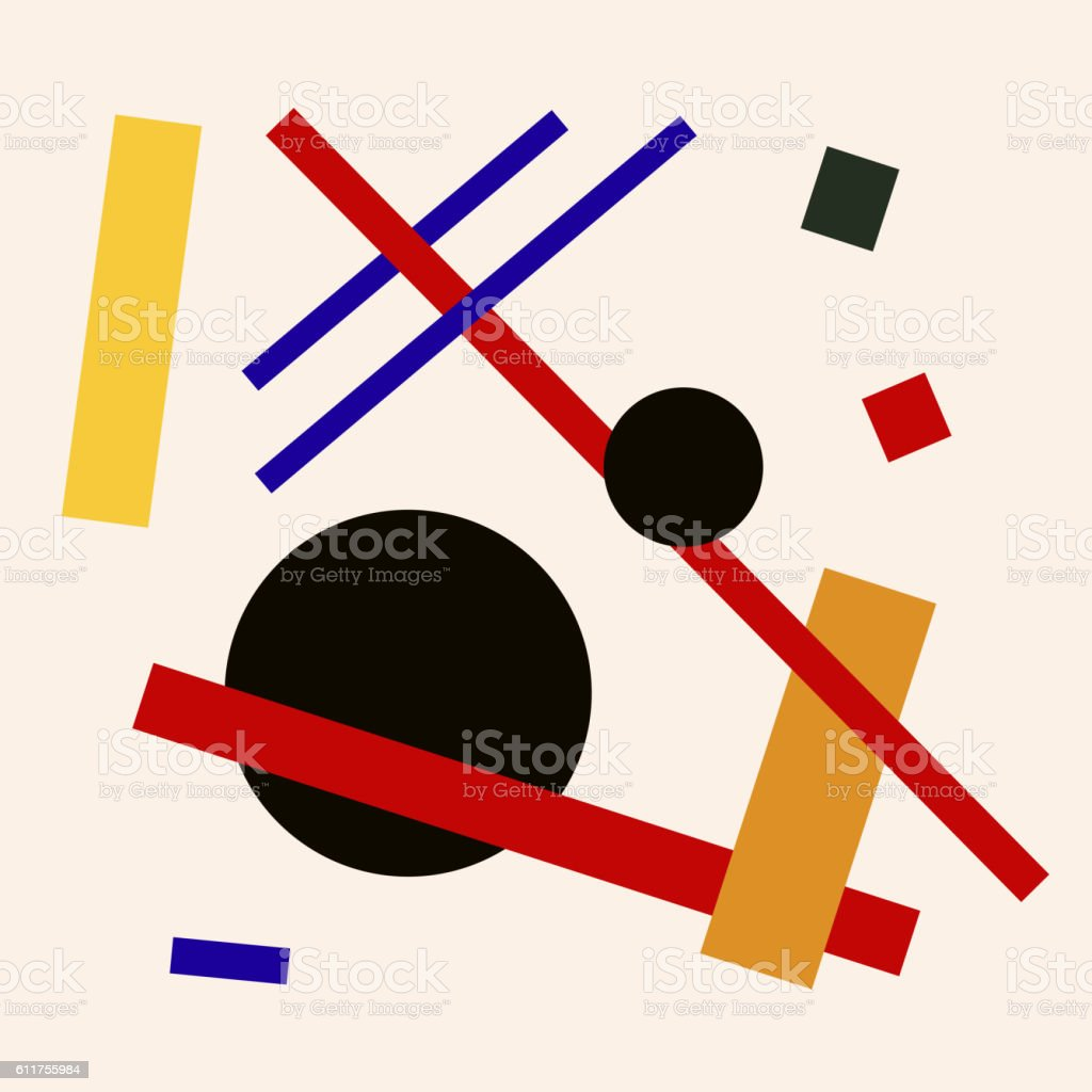 Abstract suprematism composition, square flat illustration vector art illustration