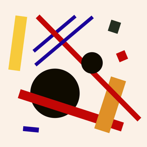 abstract suprematism composition, square flat illustration - modern art stock illustrations