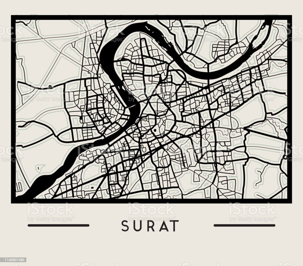 Abstract Surat City Map Illustration Stock Vector Art More Images