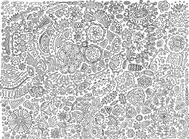 Abstract surreal detailed doodle - coloring page for adults. Vector illustration. vector art illustration