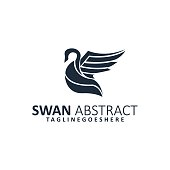 Abstract Swan Illustration Vector Template. Suitable for Creative Industry, Multimedia, entertainment, Educations, Shop, and any related business.