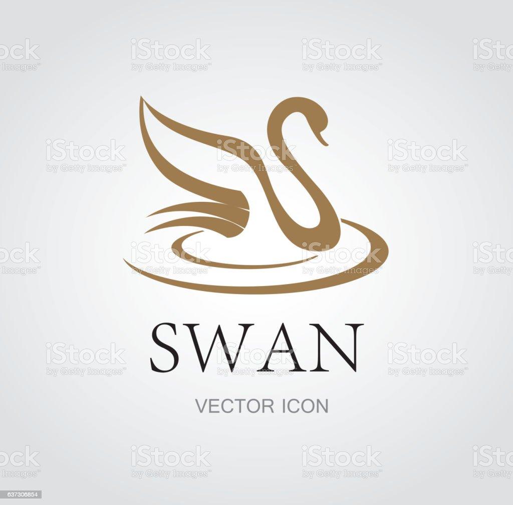 Abstract swan symbol vector art illustration
