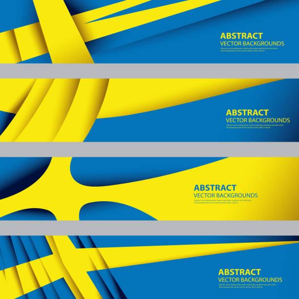 ilustraciones, imágenes clip art, dibujos animados e iconos de stock de abstract suecia bandera sueca colores nacionales (arte vectorial) - bandera sueca