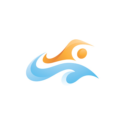 Abstract Swimmer Swim Sport and Water Wave Splash Logo Concept
