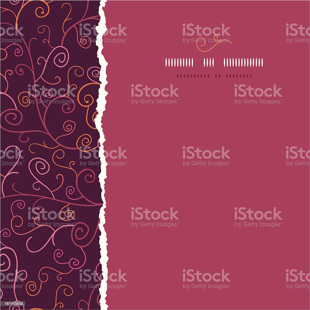 Abstract Swirl Plants Square Torn Seamless Pattern Background royalty-free stock vector art