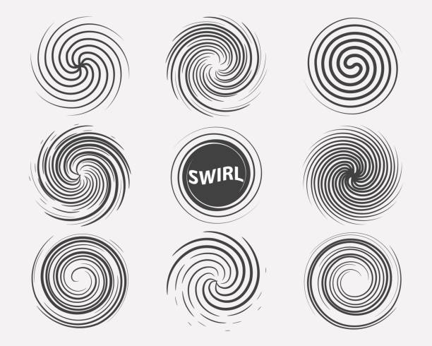 abstract swirl set dynamic flow black white icon - spiral stock illustrations, clip art, cartoons, & icons