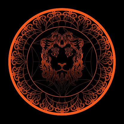 abstract swirly lion face in ornamented golden circle