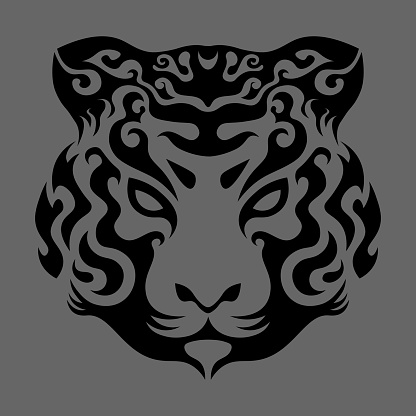abstract swirly tiger face in asian style