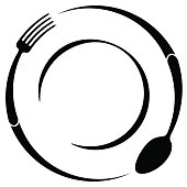 Abstract symbol of a cafe or restaurant. A spoon and fork on a plate. A simple outline.