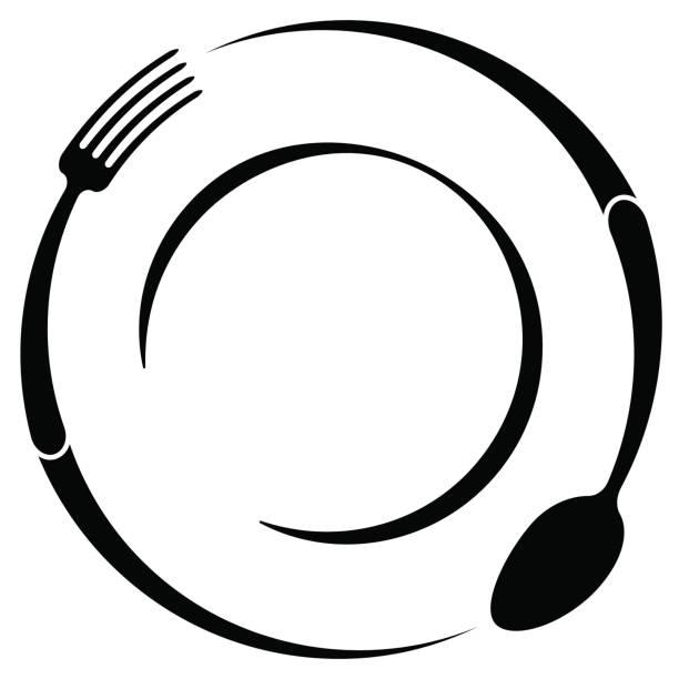 abstrakcyjny symbol kawiarni lub restauracji. łyżka i widelec na talerzu. prosty konspekt. - bar lokal gastronomiczny stock illustrations