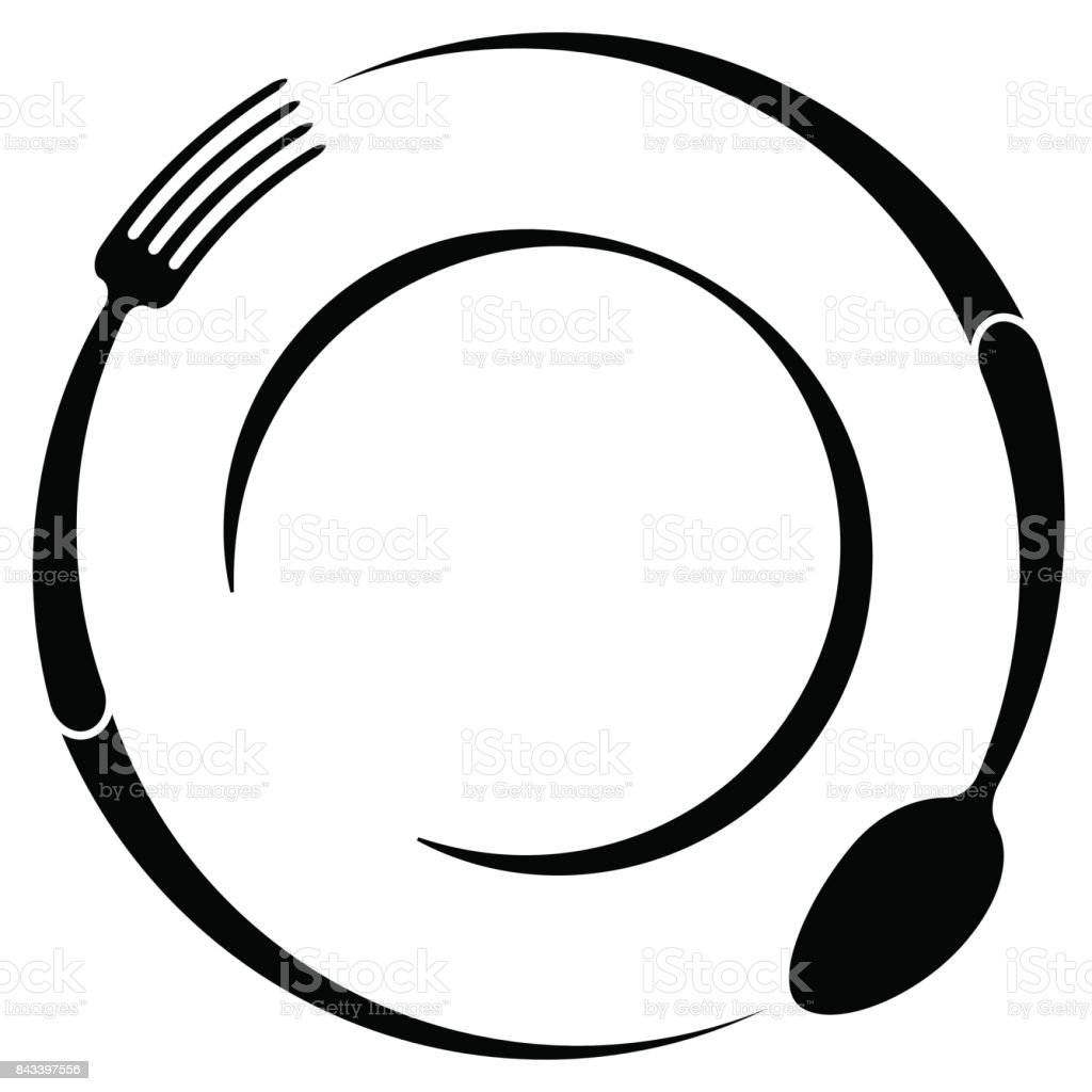 Abstract symbol of a cafe or restaurant. A spoon and fork on a plate. A simple outline. vector art illustration