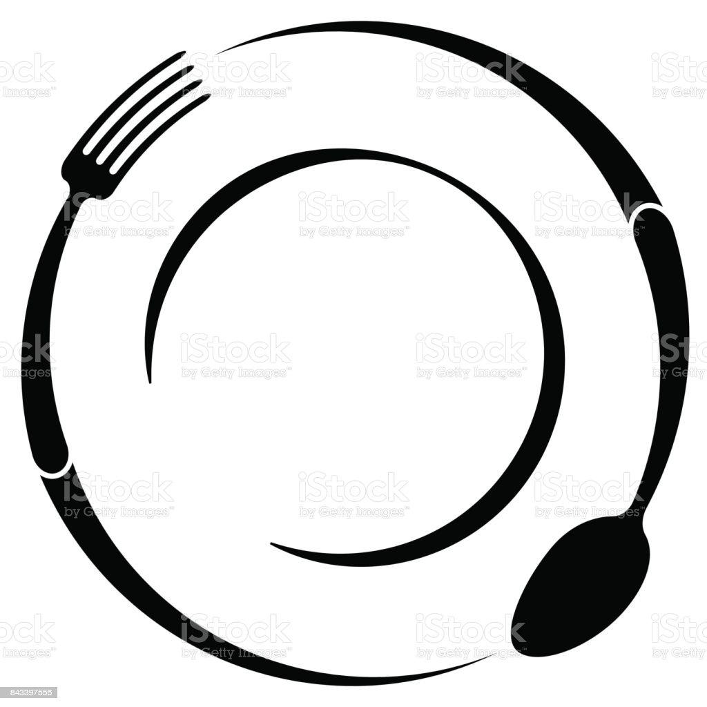 カフェやレストランの抽象的なシンボルです。スプーンとフォークを皿の上。簡単な概要。 ベクターアートイラスト