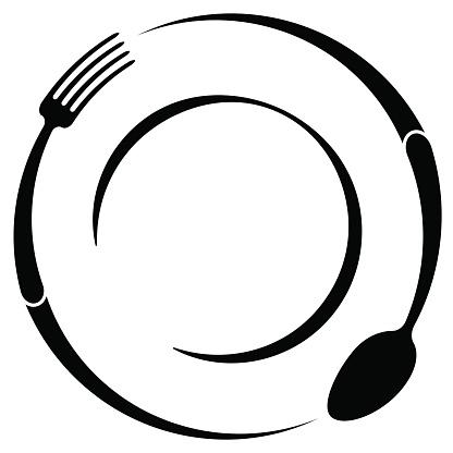 Abstrakten Symbol Für Ein Café Oder Restaurant Einem Löffel Und Einer Gabel Auf Einem Teller Eine Einfache Gliederung Stock Vektor Art und mehr Bilder von Abnehmen